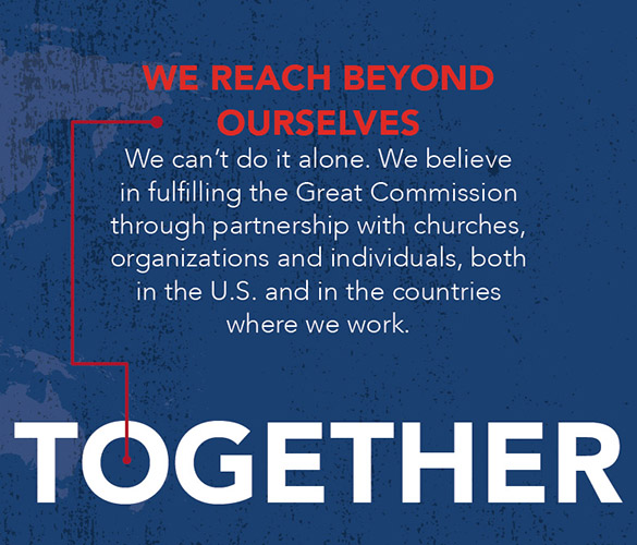 Graphic that says: We Reach Beyond Ourselves: We can't do it alone. We believe in fulfilling the Great Commission through partnership with churches, organizations and individuals, both in the U.S. and in the countries where we work.
