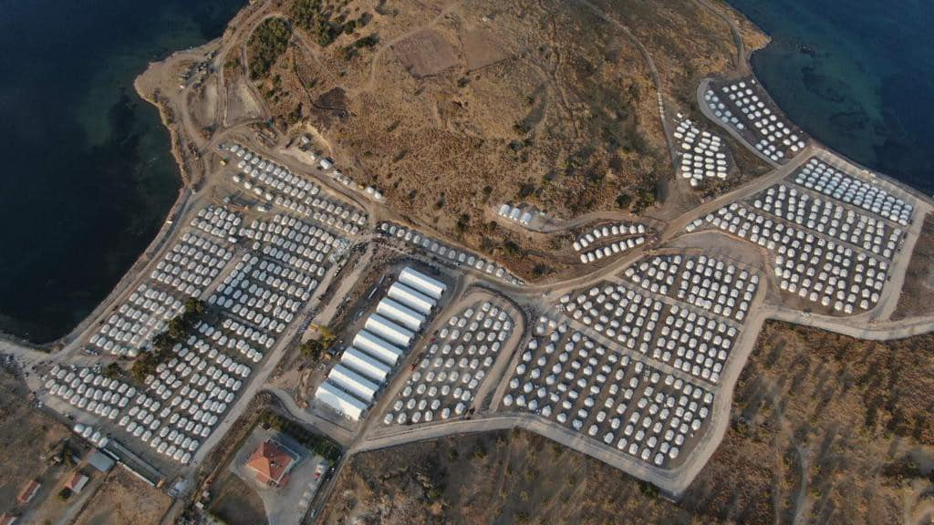 The new Moria Refugee Camp located along the coast of the Greek Island of Lesvos.