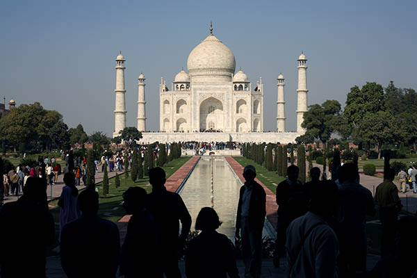 People at the Taj Mahal