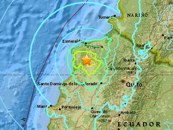 Map indicates the epicenter of the latest aftershocks about 36 miles south of the city of Esmeraldas. News sources reported that the recent tremors caused one death and injured another 85 people.