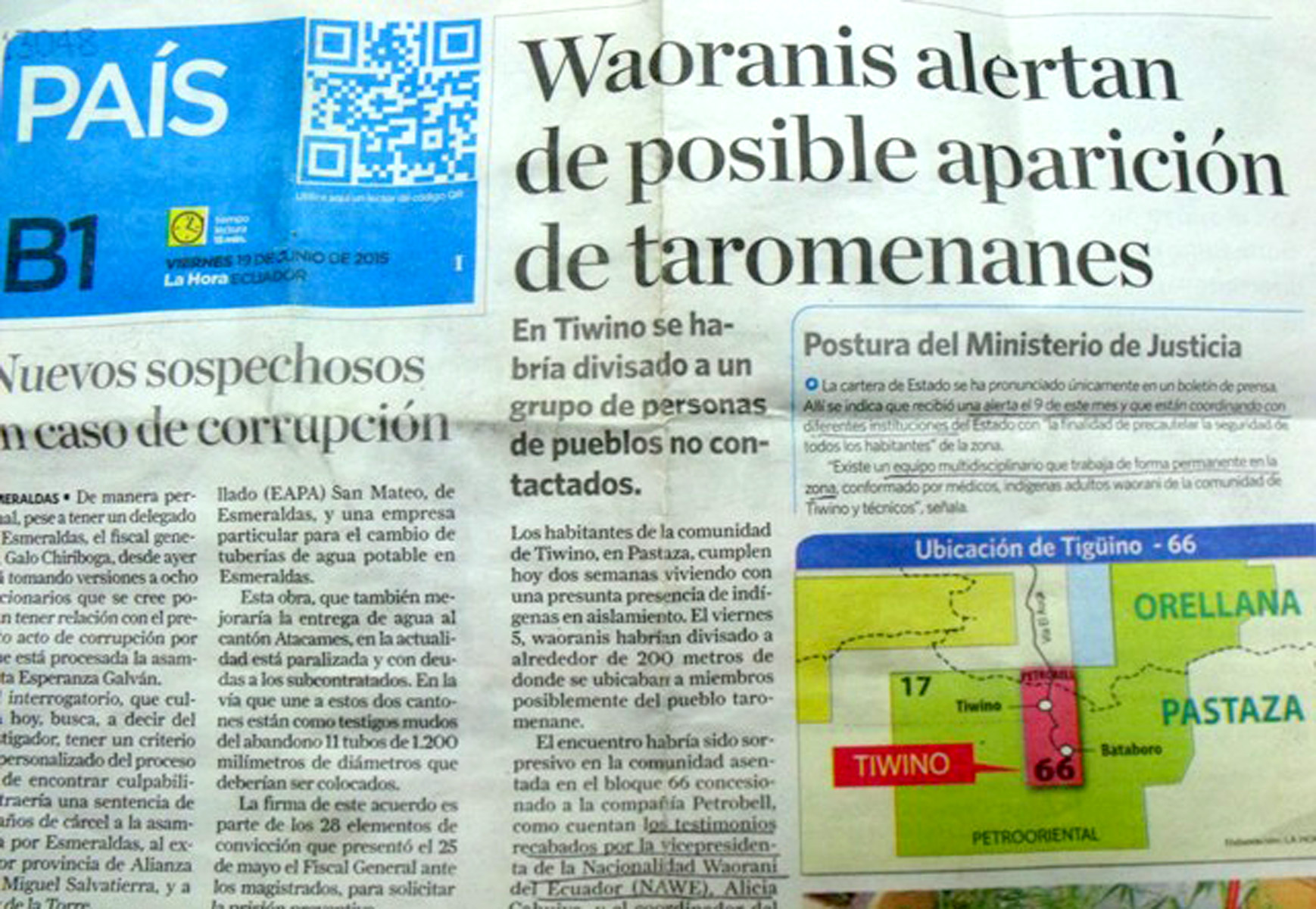 A story in the Quito daily, La Hora, tells about the recent sighting of the reclusive group known as Taromenane.